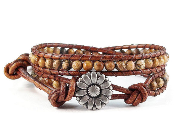 Leather Wrap Bracelet Picture Jasper Gemstones Flower Button Beaded Jewelry