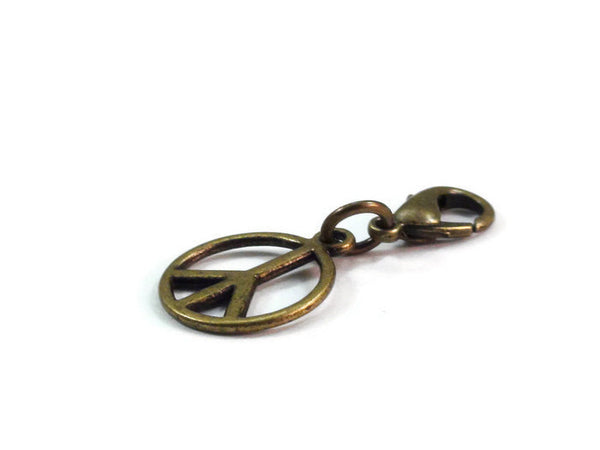 Bronze Peace Sign Charm, Bracelet Charm, Zipper Pull, Clip