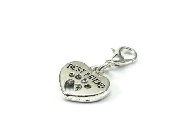 Best Friend Dog Paw Charm, Purse Charm, Clip on Charm
