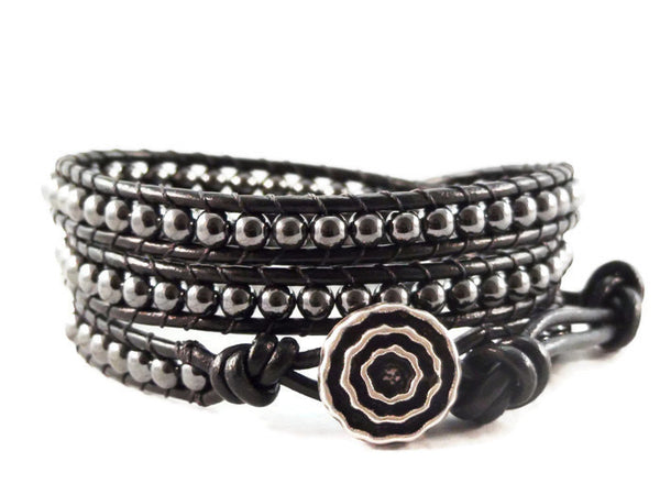 Leather Wrap Bracelet Hematite Gemstones, Triple Wrap Bracelet, Black Bracelet, Leather Jewelry