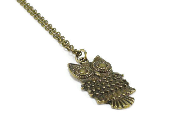 Bronze Owl Pendant Necklace