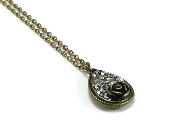 Bronze Rhinestone Rose Necklace