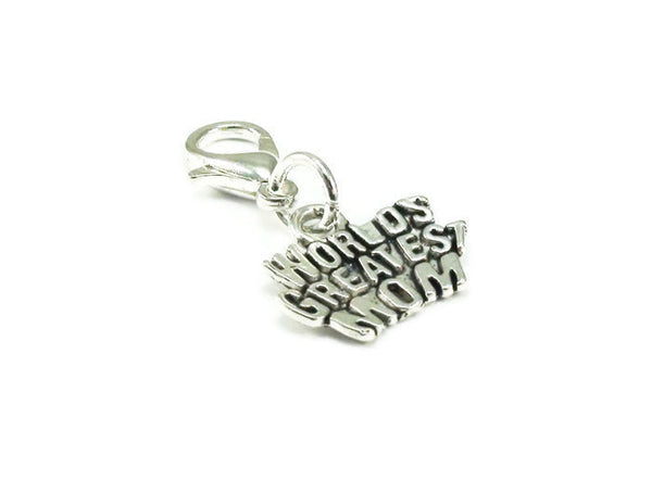 Worlds Greatest Mom Charm, Zipper Pull, Purse Charm, Clip on Charm