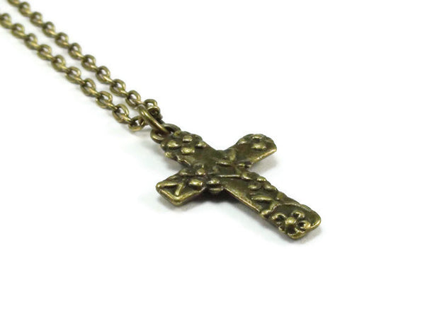Cross with Flowers Necklace