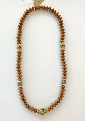 Mid-Length Wood Bead Necklace