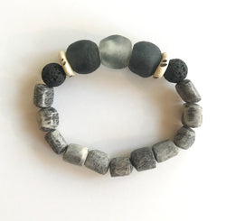Aromatherapy Bracelet- Gray, Black and White