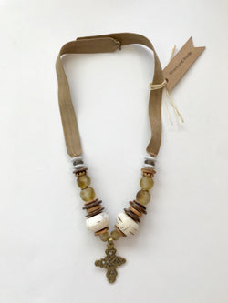 Short Tan Necklace with Bronze Cross Pendant