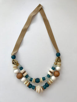 Short Two Strand Necklace with Bali Blue