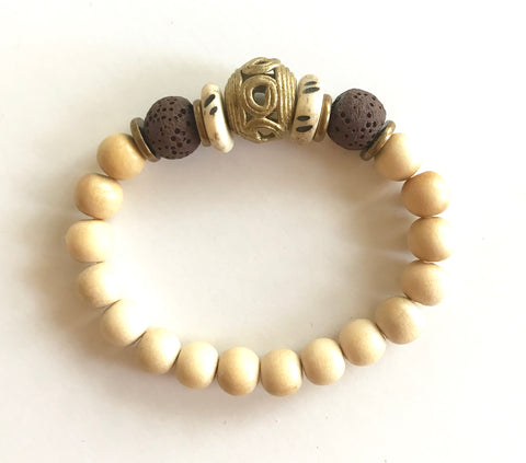 Aromatherapy Bracelet -Cream, Brown and Brass