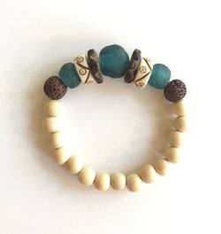 Aromatherapy Bracelet- Cream, Bali Blue Brown