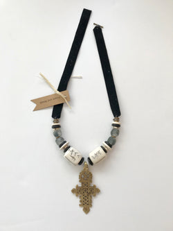 Short Black and White Necklace with Large Bronze Cross Pendant