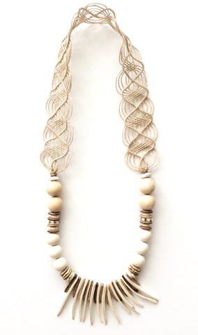 Neutral Woven Fringe Necklace