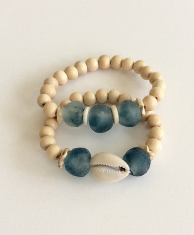Cream and Blue Cowrie Bracelets