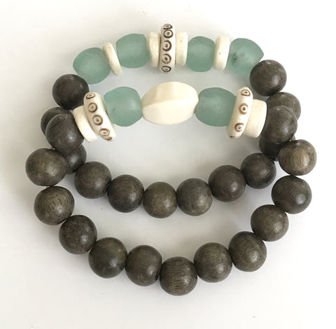Gray, Cream and Teal Bracelets