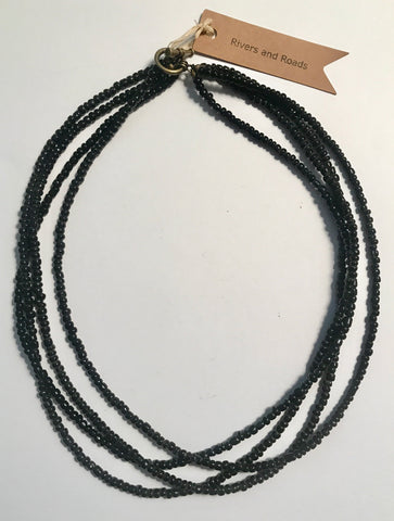 Four Strand Beaded Necklace - Black