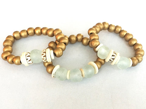 Gold and Cloud Bracelets