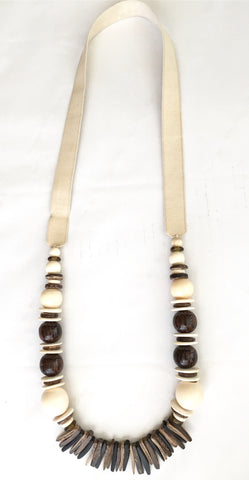 Tan, Cream and Black Fringe Necklace