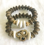 Gray and White with Bronze Bracelets