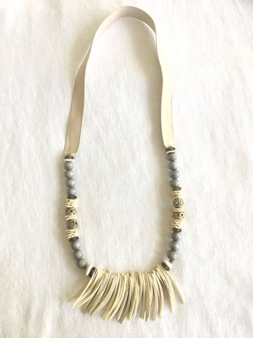 White Long Fringe Necklace