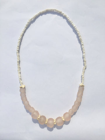 Soft Pink Glass Necklace