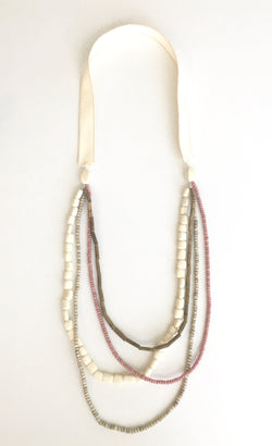 Four Strand Necklace with Pink, Bamboo, White and Beige
