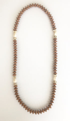 Long Wood Brown Necklace
