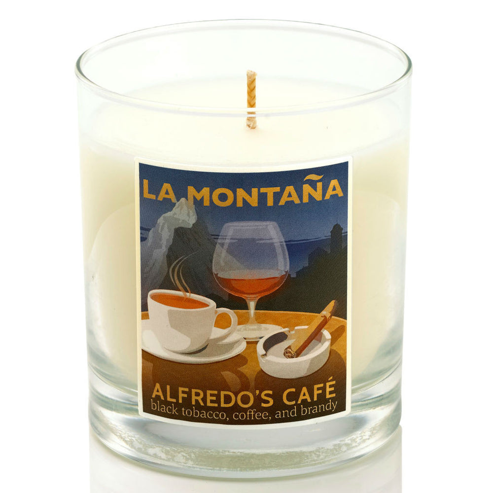 La Montana Candle ~ Alfredo's Cafe ~ coffee, brandy, tobacco, leather, incense