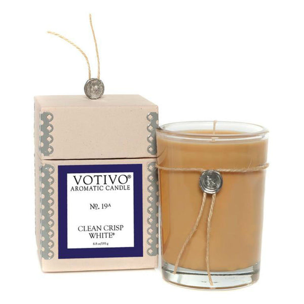 Votivo candle ~ Clean Crisp White ~ citrus, ozone, wildflowers, ylang-ylang, lilies