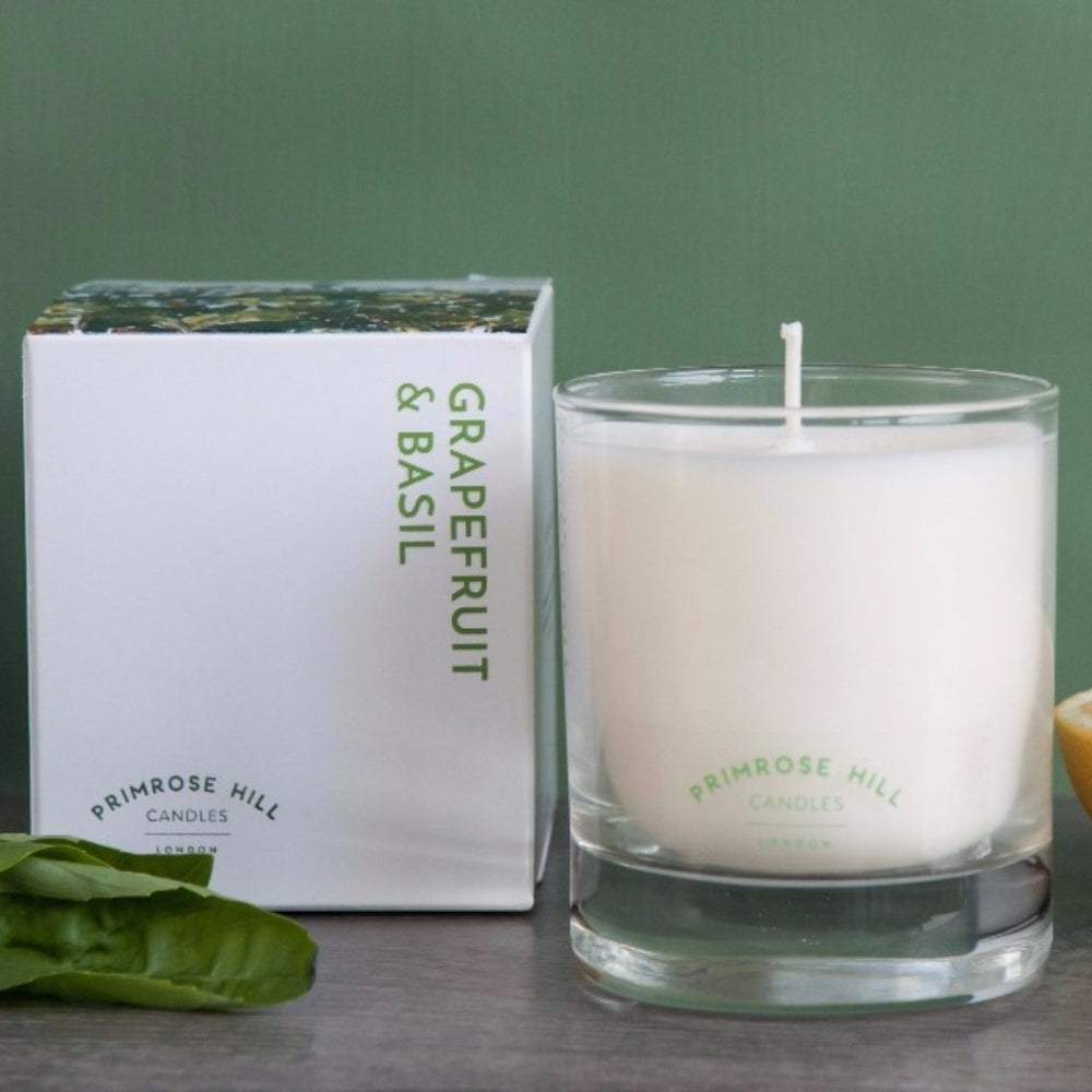 Grapefruit & Basil from Primrose Hill Candles ~ grapefruit, peppery basil