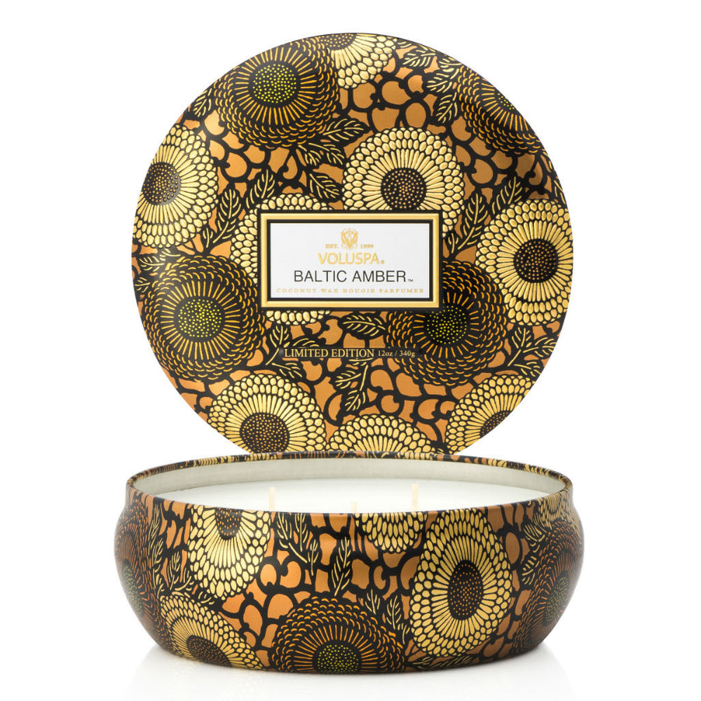 Voluspa candle ~ Baltic Amber ~ triple wick ~ amber resin, sandalwood, vanilla orchid