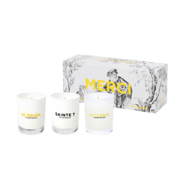 Maison Balzac Candle ~ Merci ~ set of mini candles ~ Le Soleil, Sainte T, Le Silence
