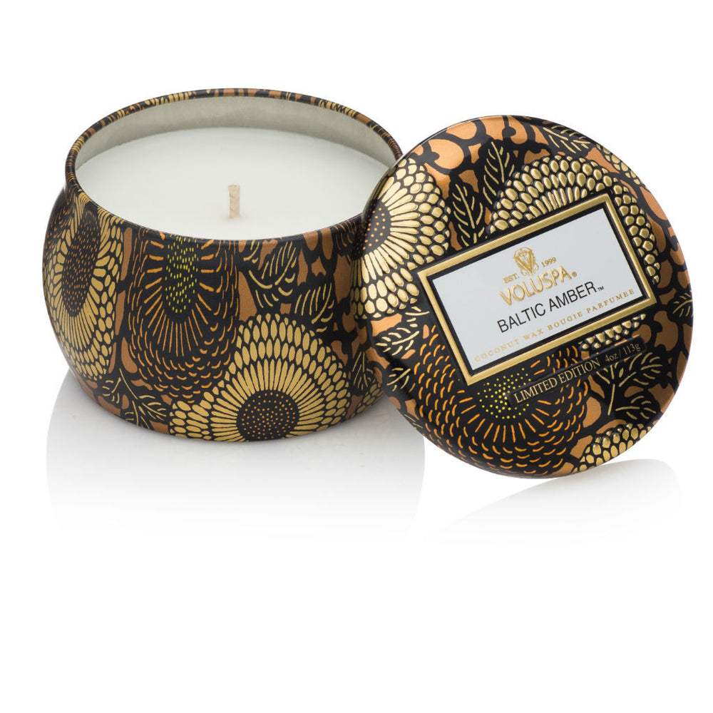Voluspa candle ~ Baltic Amber ~ travel tin ~ amber resin, sandalwood, vanilla orchid