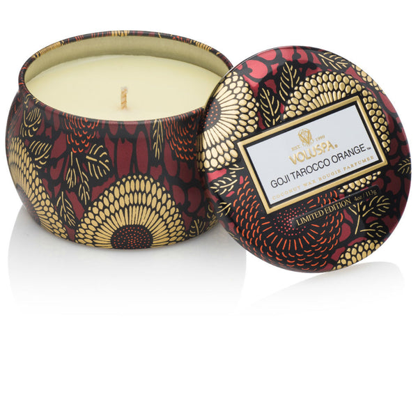 Voluspa candle ~ Goji Tarocco Orange ~ travel tin ~ goji berry, ripe mango, tarocco orange