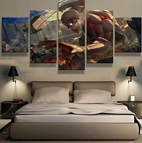 Attack On Titan, Canvas Wall Art Framed 5 Panel - Canvart
