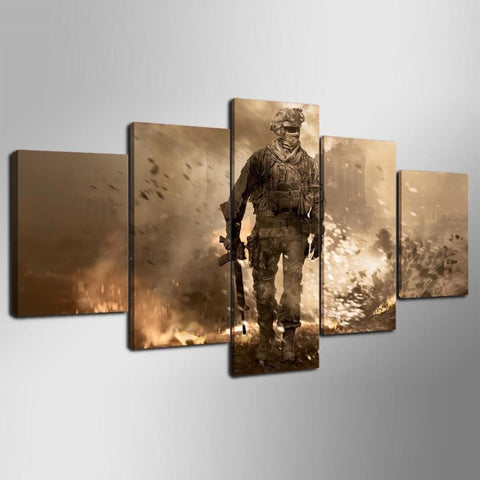Call Of Duty Black Ops, Canvas Wall Art Framed 5 Panel - Canvart