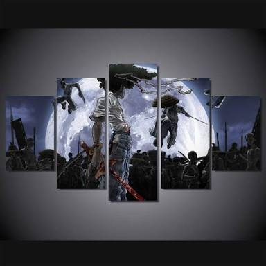 Afro Samurai Moon, 5 Panel Framed Canvas Wall Art - Canvart