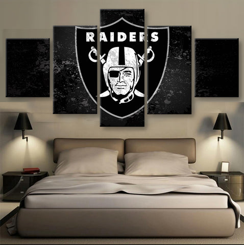 Oakland Raiders, 5 Panel Framed Canvas Wall Art - Canvart