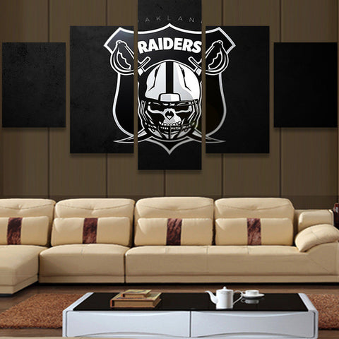 NFL Oakland Raiders Fans, 5 Panel Framed Canvas Wall Art - Canvart