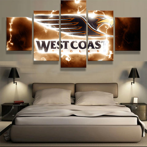 West Coast Eagles, 5 Panel Framed Canvas Wall Art - Canvart