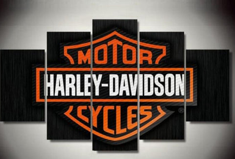 Harley Davidson Motor Cycles, 5 Panel Framed Canvas Art