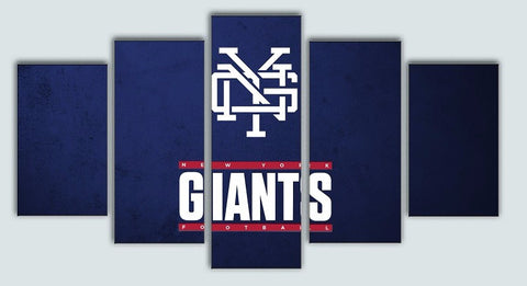 New York Giants, 5 Panel Framed Canvas Wall Art - Canvart