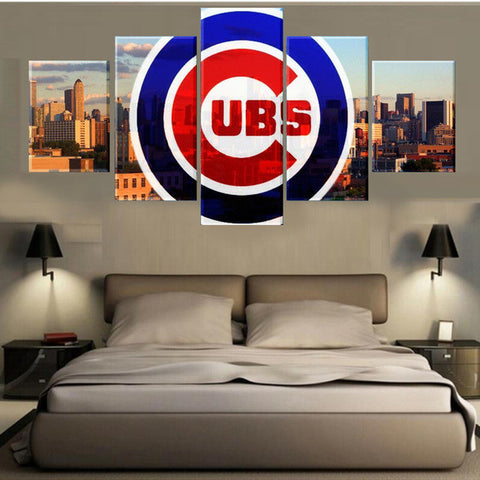 Chicago Cubs, 5 Panel Framed Canvas Wall Art - Canvart