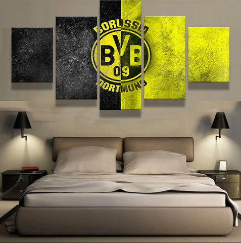 Borussia Dortmund, 5 Panel Framed Canvas Wall Art - Canvart