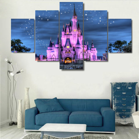 Disney Castle, 5 Panel Framed Canvas Wall Art