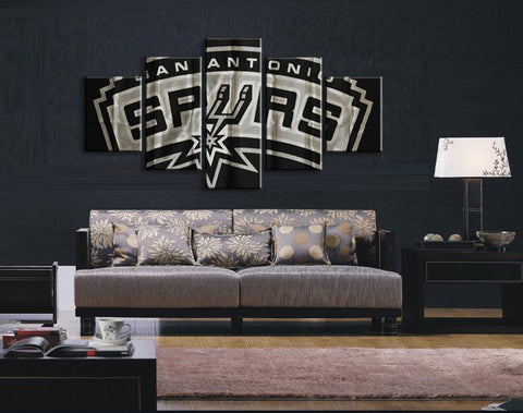 San Antonio Spurs, 5 Panel Framed Canvas Wall Art - Canvart