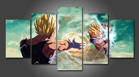Dragon Ball Z Goku Vs Vegeta, Framed Canvas Wall Art - Canvart