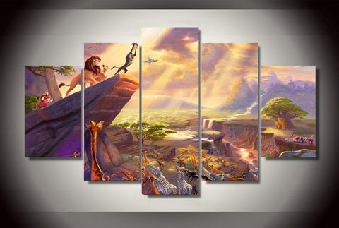 Lion King, 5 Panel Framed Canvas Wall Art