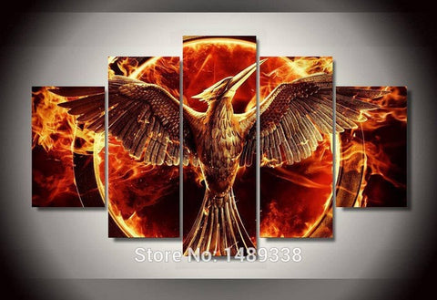 Hunger Games, 5 Panel Framed Canvas Wall Art - Canvart