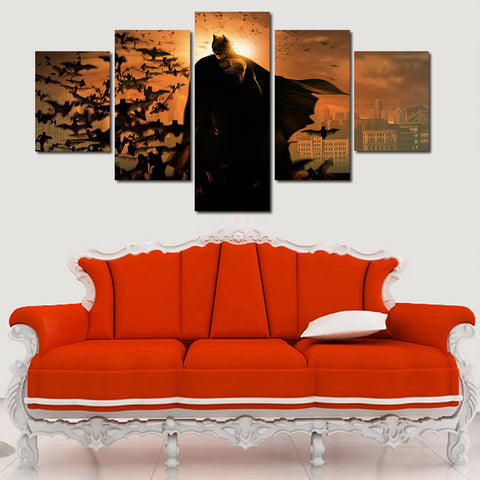 Batman Begins Movie Poster, 5 Panel Framed Canvas Wall Art