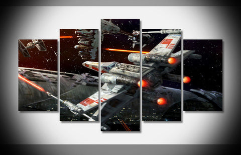 Star Wars X-Wing Fighter, 5 Panel Framed Canvas Wall Art - Canvart